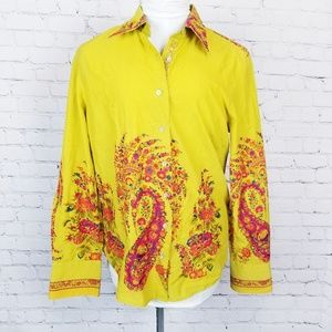 Robert Graham|Contrast Cuff Yellow Blouse